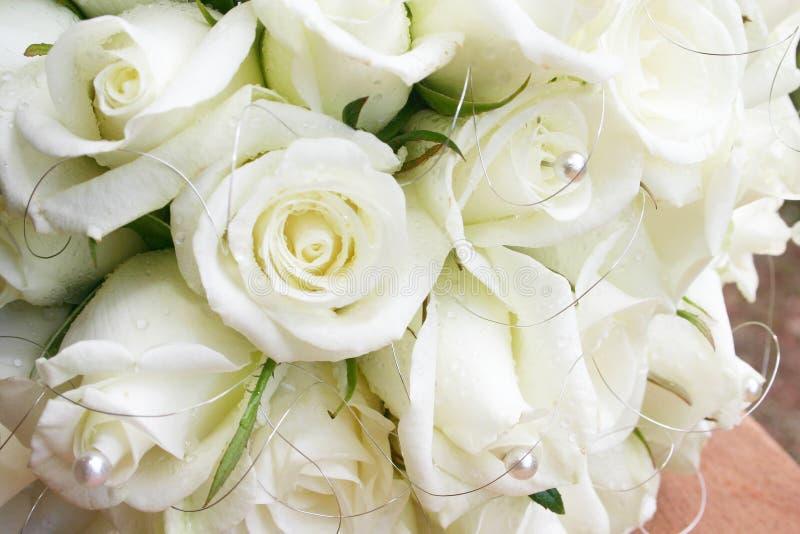 Roses blanches avec des perles photo libre de droits