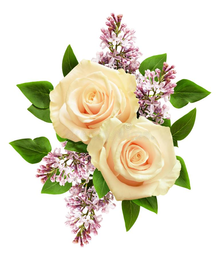 Roses blanches et fleurs lilas dans la disposition de fête image stock