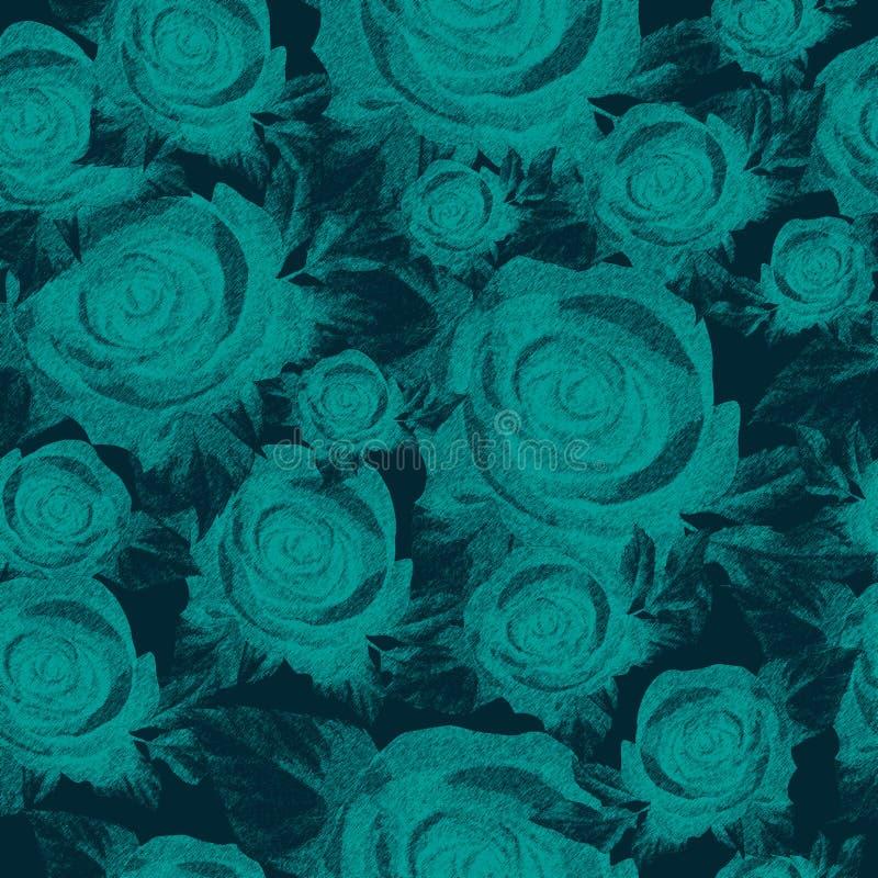 Roses bleues, modèle sans couture illustration libre de droits