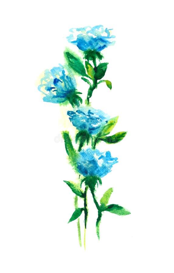 Roses bleues Retrait d'aquarelle illustration stock