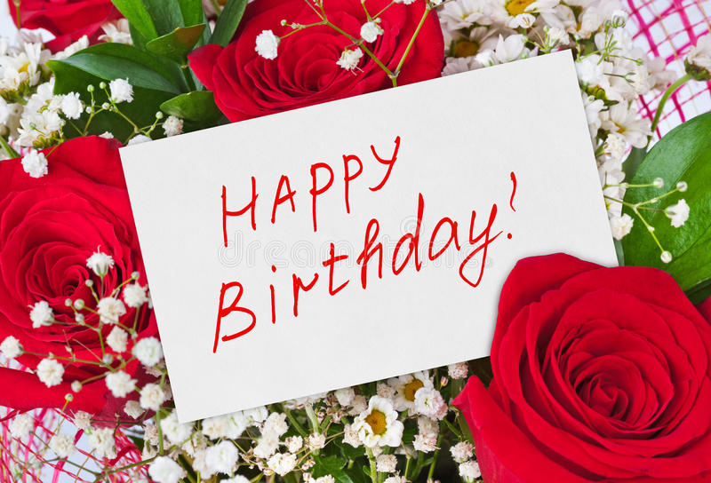 Roses bouquet and card Happy Birthday. Celebration background stock photo