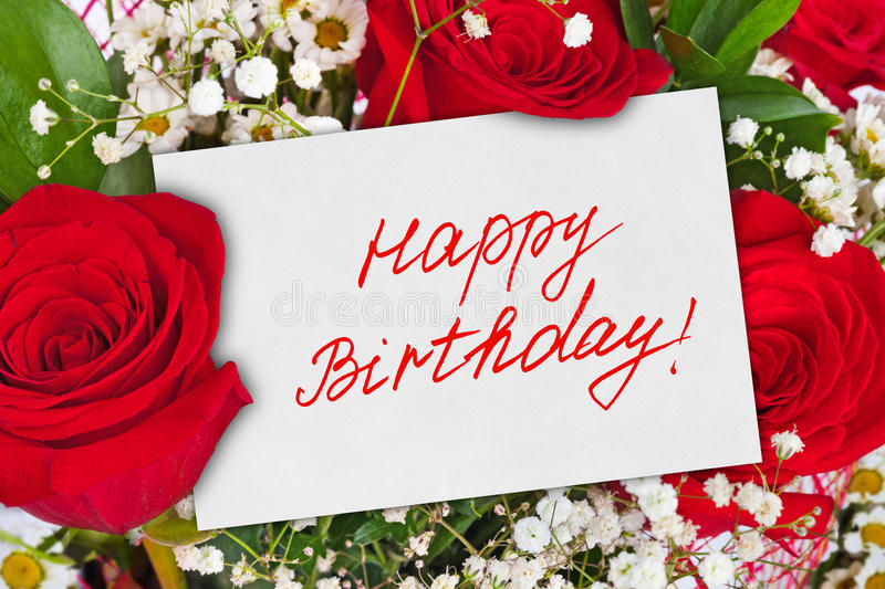 Roses bouquet and card Happy Birthday. Celebration background royalty free stock image