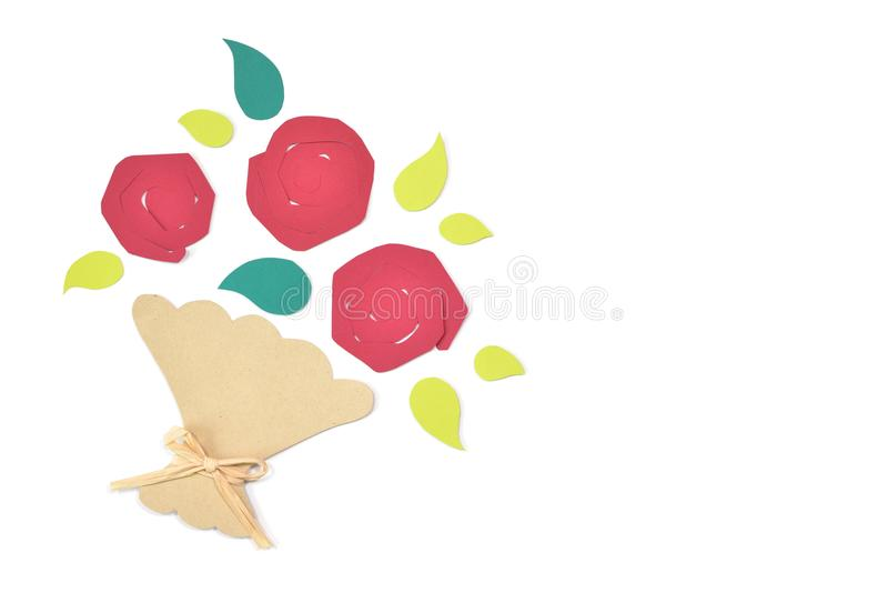 Roses bouquet paper cut on white background royalty free stock photos