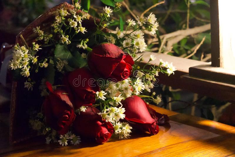The roses bouquet with warm royalty free stock photo