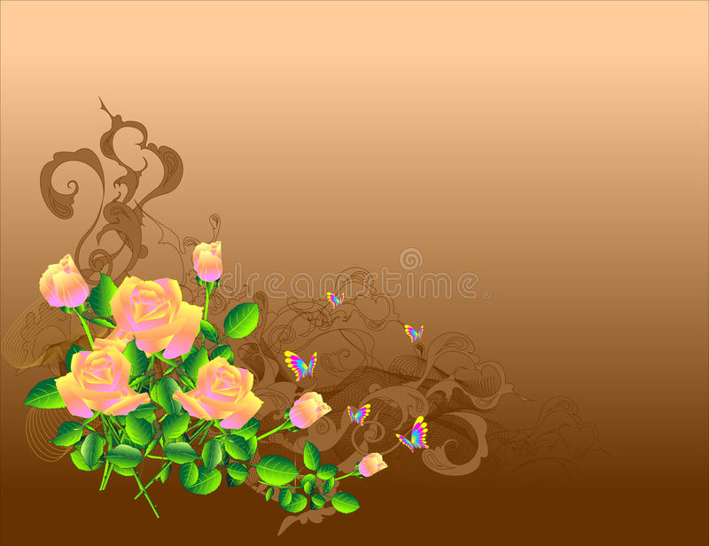 Download Roses on brown stock vector. Illustration of flowers - 17520327