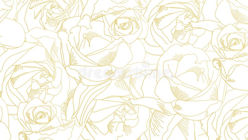 Roses bud outlines. Pattern with flowers in yellow and golden colors. Abstract art, hand-drawn romantic background royalty free illustration