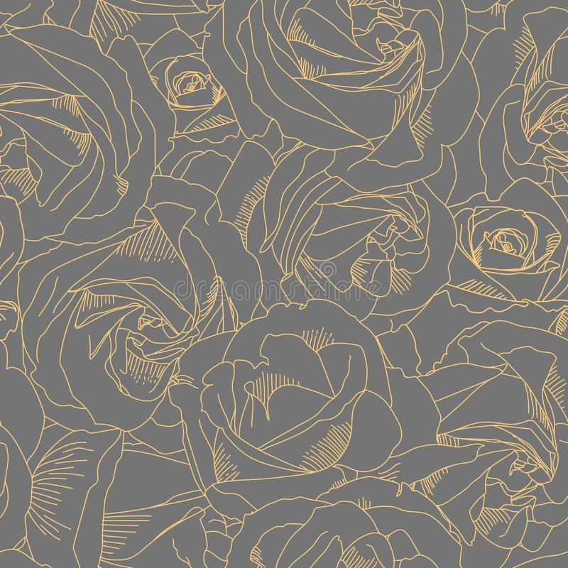 Roses bud outlines. Seamless pattern with flowers in yellow ad gray colors. Hand-drawn romantic background. Style of stock illustration