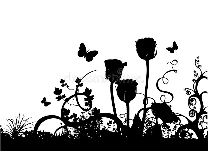Roses and butterfly vector