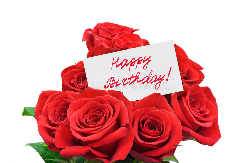 Roses and card Happy birthday. Isolated on white background stock photos