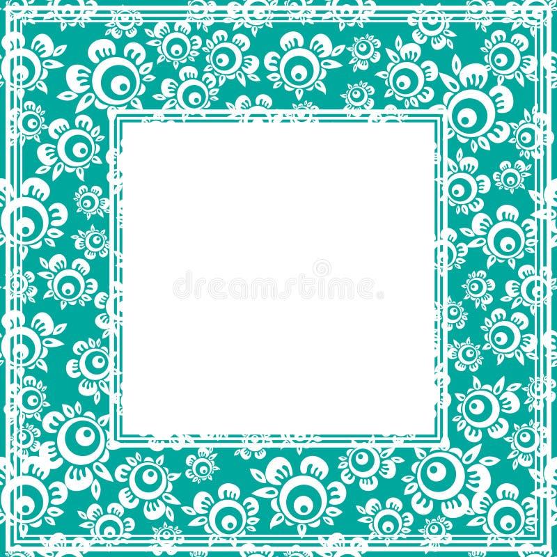 Roses cartoon border. Abstract cartoon roses border on a blue background stock illustration