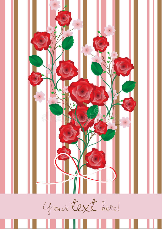 Roses and cherry flowers branch stock illustration