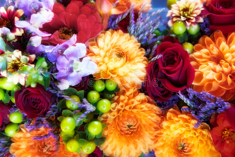 Roses, Chrysanthemums & Orchids Bouquet Royalty Free Stock Photo