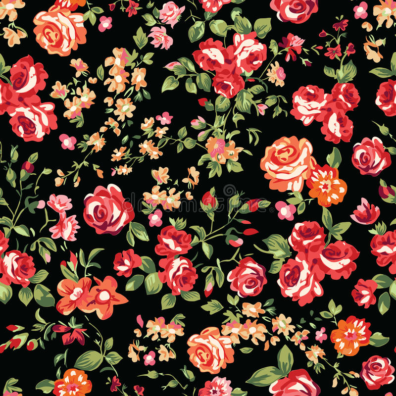 Roses classiques sur le noir illustration stock