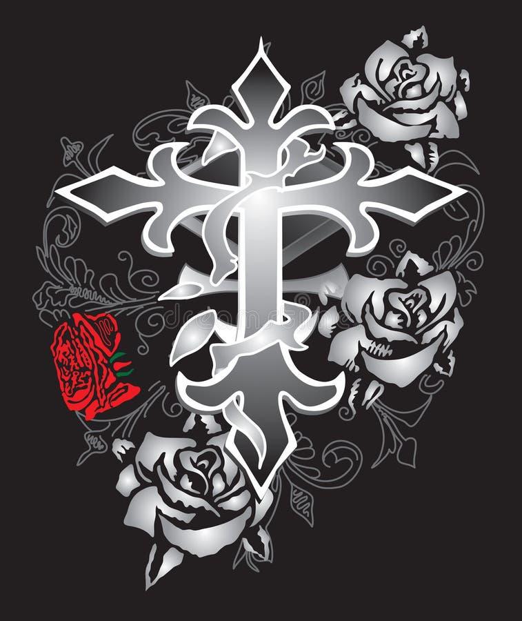 Roses crucifix design fashion paisley stock illustration