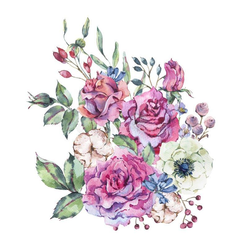 Roses décoratives de rose d'aquarelle de cru, carte de voeux de nature avec des fleurs illustration de vecteur