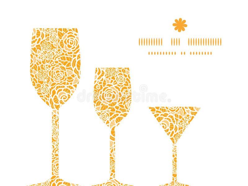 Roses d'or de dentelle de vecteur trois verres de vin illustration stock