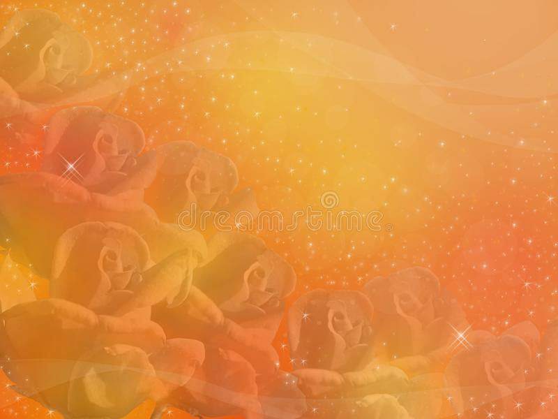 Roses dans un brouillard d'or illustration de vecteur