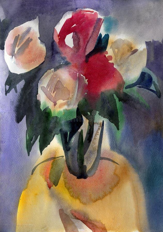 Roses dans un vase illustration de vecteur