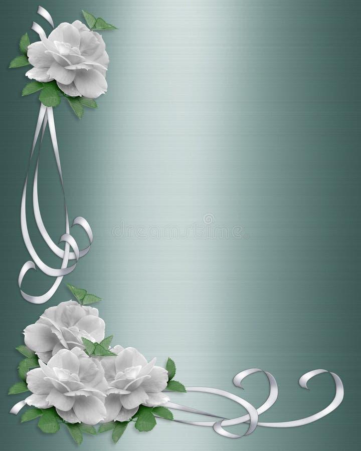 Roses de blanc de cadre de mariage illustration stock