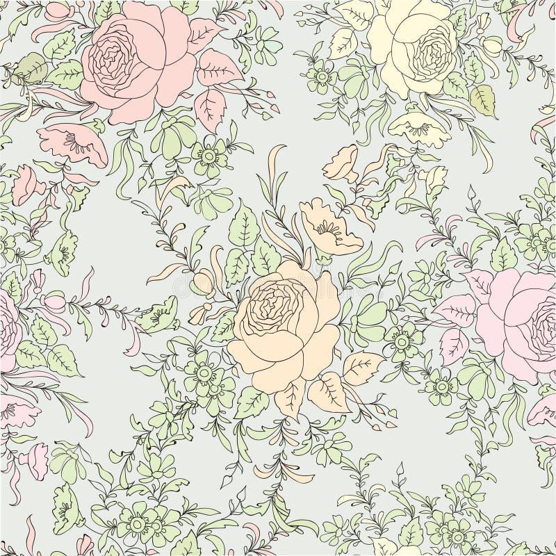 Roses de fleur Fond sans joint floral Configuration de fleur illustration libre de droits