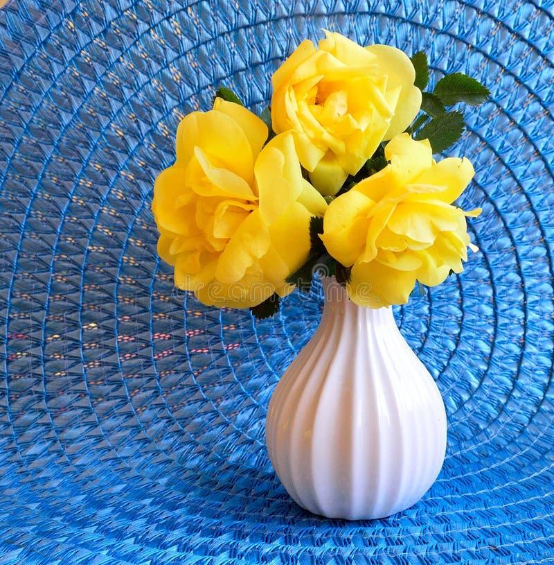 Roses de Floribunda de jaune de trio de plan rapproché sur le tapis bleu photos stock