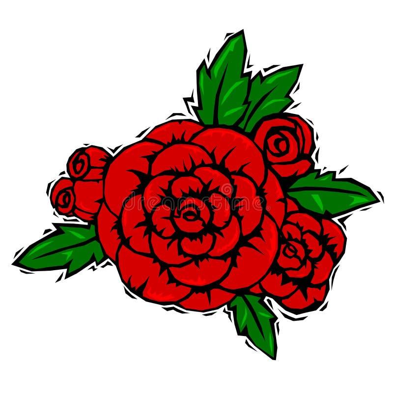 Roses de gravure sur bois illustration stock
