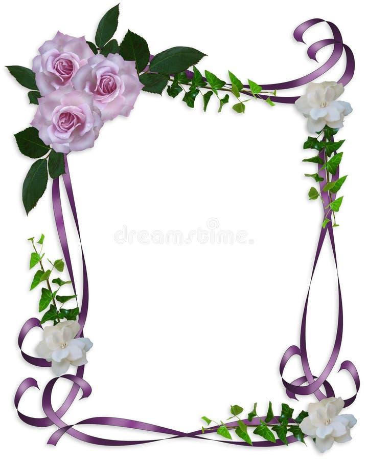 Roses de lavande de cadre d'invitation de mariage illustration stock