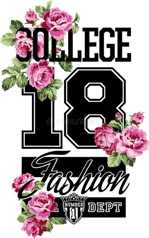 Roses de petit morceau de mode d'université illustration libre de droits