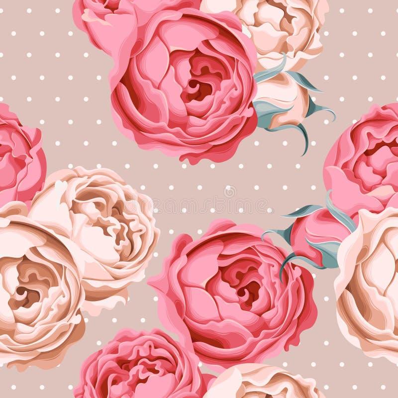 Roses de pivoine et point de polka sans couture illustration de vecteur