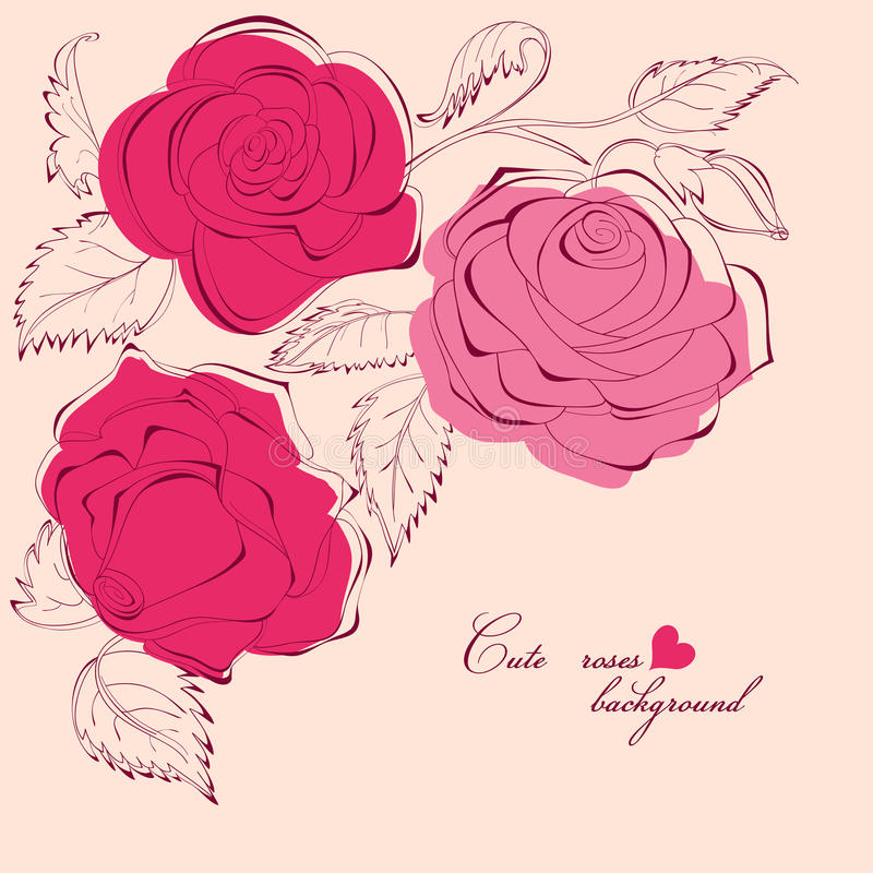 Roses decorative corner. Hand drawn floral romantic background vector illustration
