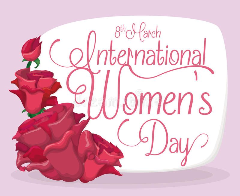 Roses Dedicated for Ladies in the International Women's Day, Vector Illustration royalty free stock photo