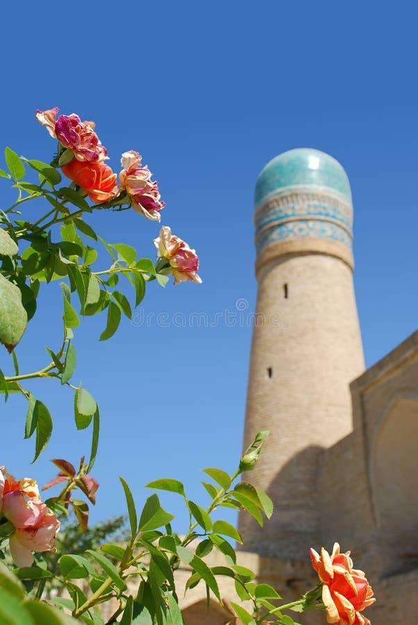 Roses and dome Tower Madrasah Khalifa Niyazkul or Chor-Minor royalty free stock image