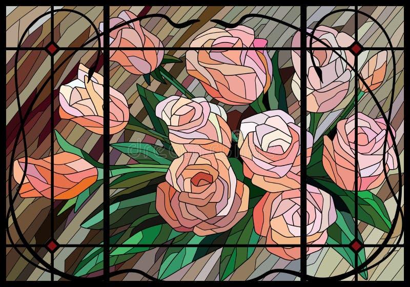 Roses en verre souillé sur un fond beige dans un cadre décoratif lignes noires illustration de vecteur