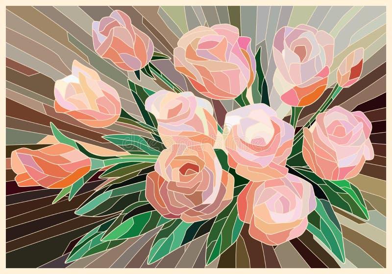 Roses en verre souillé sur un fond beige Lignes l?g?res illustration libre de droits