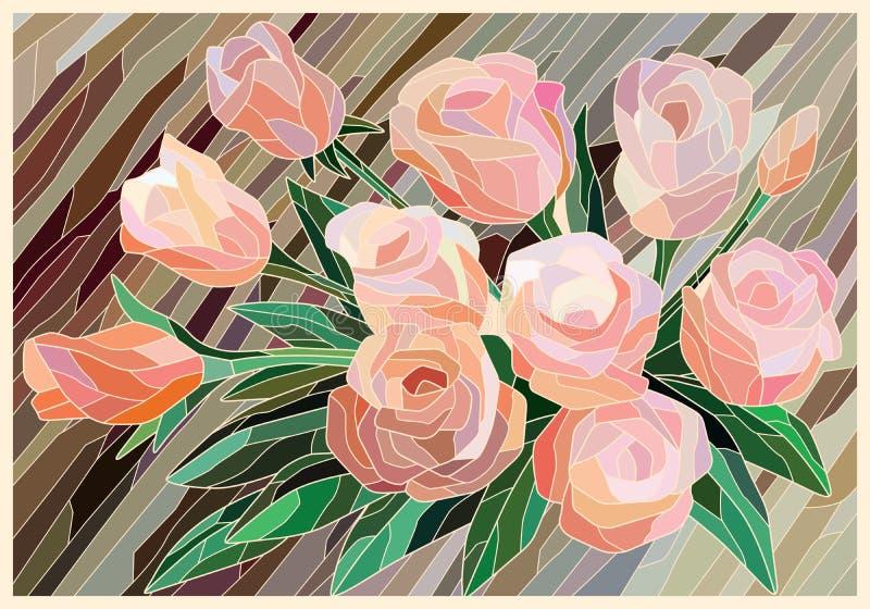 Roses en verre souillé sur un fond brun Lignes l?g?res illustration libre de droits