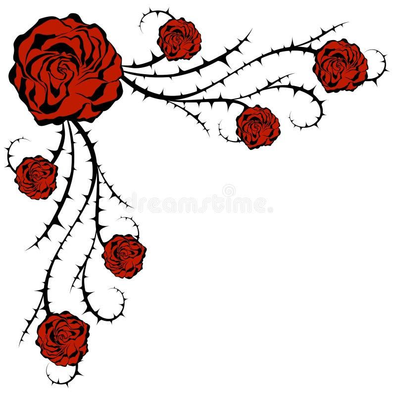 Roses et buisson Élément floral faisant le coin de vecteur illustration stock