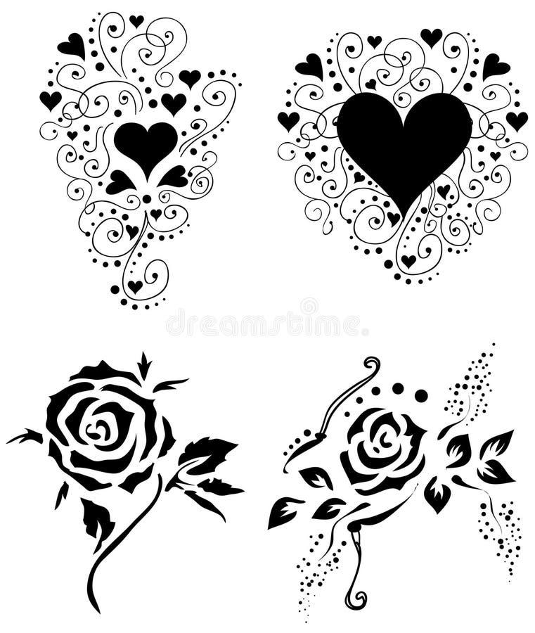 Roses et coeurs 2 [VECTEUR] illustration de vecteur