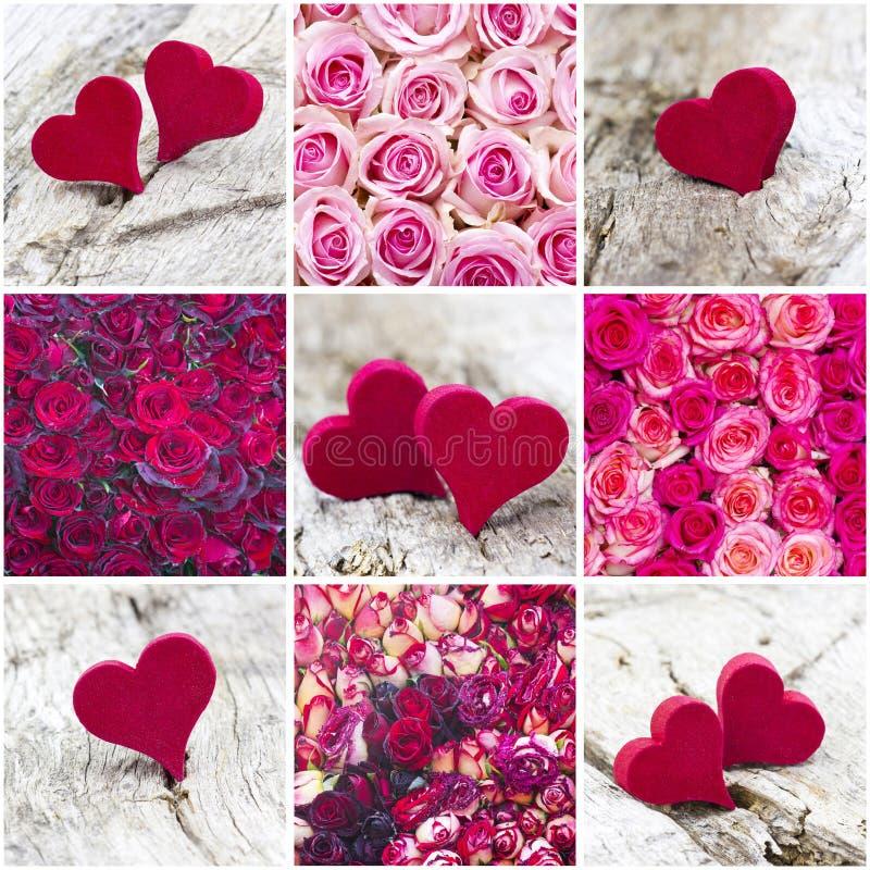 Roses et coeurs colorés - collage photo stock