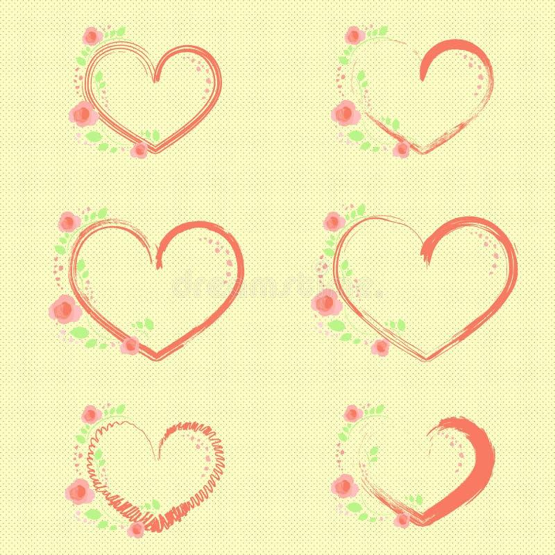 Roses et coeurs en pastel illustration libre de droits