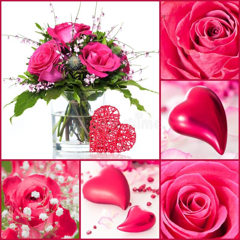Roses et collage de coeurs photographie stock libre de droits