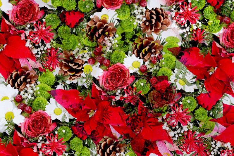 Roses et décoration de cônes de pin photographie stock