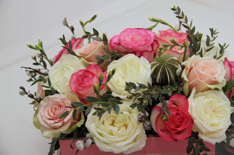 Roses And Exotic Flower Bouquet On White Background, Close Stock ...