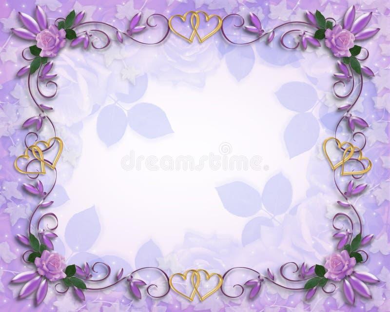 roses florales de coeurs d'or de cadre illustration stock