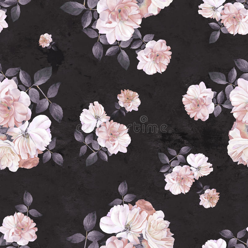 Roses flower watercolor dark seamless pattern vector illustration