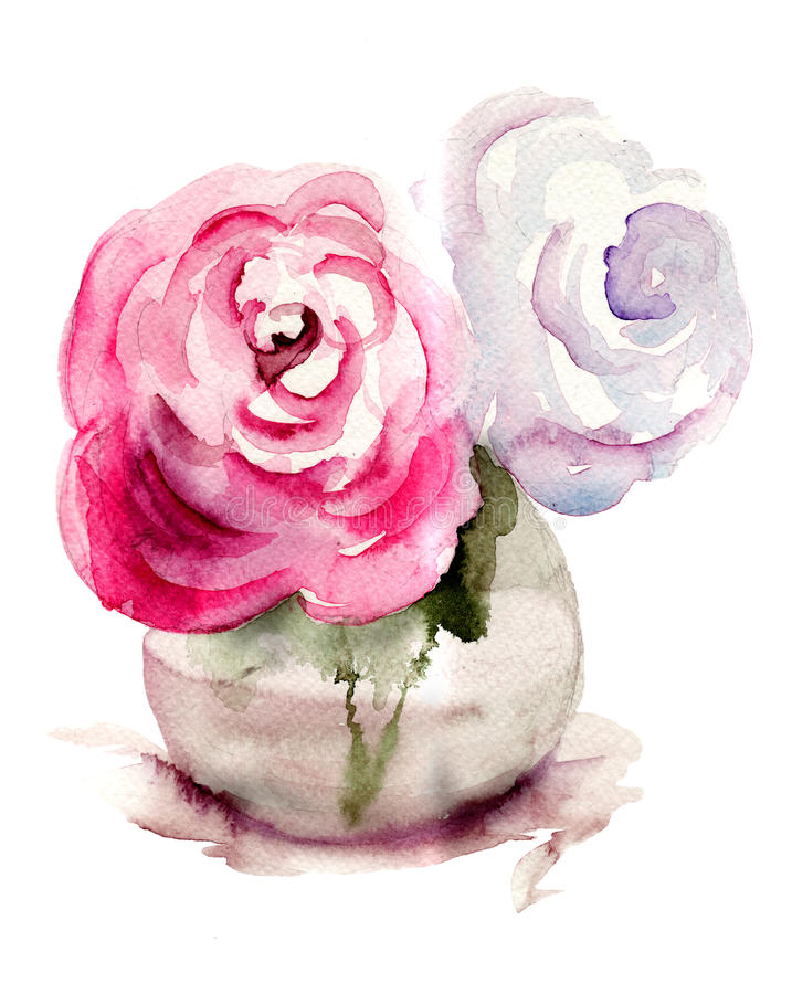 Download Roses Flowers, Watercolor Illustration Stock Illustration - Image: 28640345