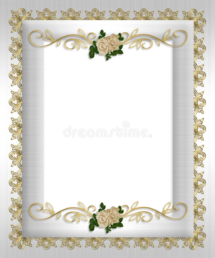 Roses formelles de blanc de descripteur d'invitation illustration libre de droits