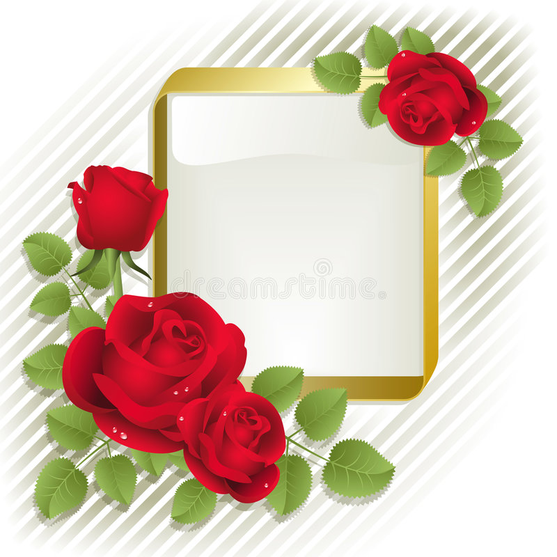 Roses  With Frame Royalty Free Stock Photos