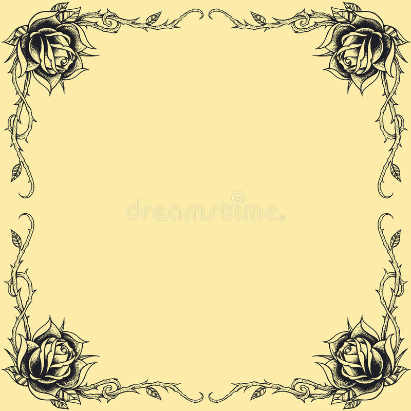 Free Roses Frame Oldskool Tattoo Style Design Set 01 Royalty Free Stock Photos - 36326828