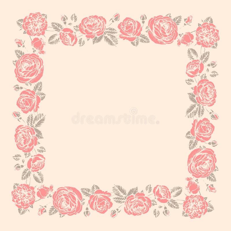 Roses Frame. Stencil. vector illustration