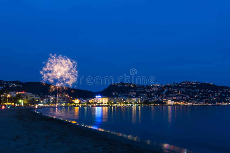 Roses, Girona fireworks stock photography
